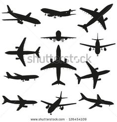 A set or collection of black planes drawings on a beige background.A group or collection of aircrafts ideal for grungy,travel,flight,transport,business or commercial designs isolated on white by design36, via ShutterStock