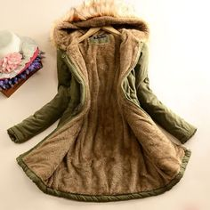 Nice Fashion Slim Wool Hooded Long Winter Cotton Coat