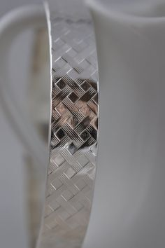 Heavy Sterling Silver Wide Basket Weave Bangle Bracelet /