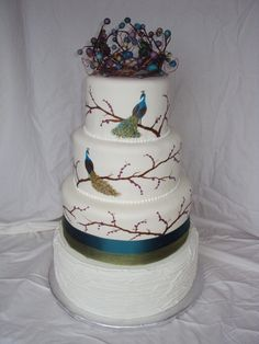 Visit the post for more. Peacock Foods, Peacock Cake, Gorgeous Cakes, Pretty Cakes, Amazing Cakes, Themed Wedding Cakes, Themed Cakes, Cake Cookies, Cupcake Cakes