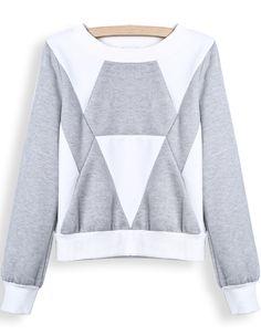 Sudadera crop geométrico manga larga-blanco y gris EUR€18.48