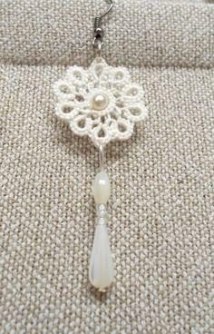 Encaje marfil pendientes boda novias flores soy por SILHUETTE