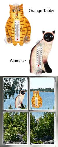 """NEW 4 1//2/"""" X 6 1//2/"""" Cast Iron Wall Centigrade Thermometer TABBY CAT In Out Doors"""