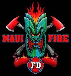 Maui Firefighter T Shirt Hawai Fire Station Tee Shirt Tiki Fire Dept.