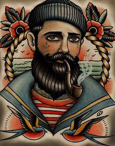 Seaman Tattoo Art Print by Quyen Dinh
