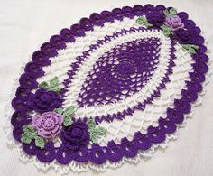 crocheted oval doily violet/purple/lavender and white