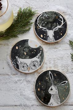Terrific Pics Clay Pottery at home Concepts Moonlit Forest Coaster – Ceramic Painting, Ceramic Art, Painted Ceramics, China Painting, Ceramic Mugs, Ceramic Bowls, Home Decor Accessories, Decorative Accessories, Clay Crafts