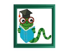 Bookworm Graduation Cross Stitch Pattern by Valethea on Etsy