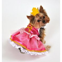 Two piece pink princess dog costume, includes tulle layered dress with pedal accent and attached lace petticoat, faux corset top, and crown headpiece. Dog Halloween Costumes, Pet Costumes, Girl Dog Costumes, Small Dog Costumes, Princess Dog Costume, Princess Puppies, Christmas Fancy Dress, Halloween Christmas, Puppy Costume
