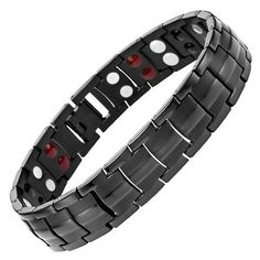 CHECK OUT THIS Starista Jewelry Pure Titanium Double Row 4 Elements Magnetic Health Bracelet Power Wristband for Men FOR JUST $25.95!!