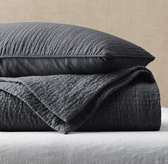 Vintage-Washed Linen Channel-Quilted Coverlet & Sham