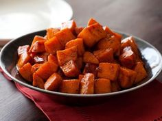 Roasted Sweet Potatoes with Honey and Cinnamon Recipe : Tyler Florence : Food Network Made this in a roasting pot with half of the recommended amount of honey and it was absolutely delicious! Great low cal veggie that tastes like candy Food Network Recipes, Cooking Recipes, Healthy Recipes, Cooking Time, Cooking School, Lunch Recipes, Drink Recipes, Free Recipes, Dessert Recipes
