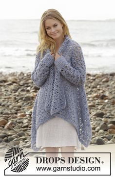 Kyliena - Crocheted jacket with lace pattern. Sizes S - XXXL. The piece is worked in DROPS Air. - Free pattern by DROPS Design Crochet Coat, Crochet Cardigan Pattern, Knitted Coat, Crochet Shawl, Crochet Clothes, Tunisian Crochet, Free Crochet Jacket Patterns, Crotchet Patterns, Lace Patterns