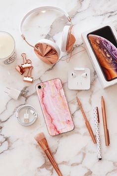 Pink Marble Tough iPhone Samsung Phone Case