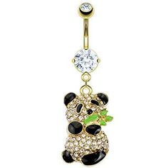 PANDA BEAR BELLY RING WITH BLING