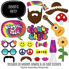 The perfect photo booth begins with fabulous photo booth props. Our printed and cut kit will help you easily create fun party photos at your next party. This Hippie party photo booth props kit come with 20 pieces, one of which is personalized, and re Woodstock, Foto Props, Mundo Hippie, 60s Theme, Fourth Of July Crafts For Kids, 60s Hippies, Decade Party, Kit, Hippie Party