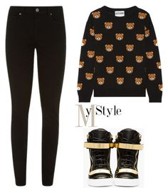 """Untitled #1138"" by mihai-theodora ❤ liked on Polyvore featuring Moschino, Paige Denim and Giuseppe Zanotti"
