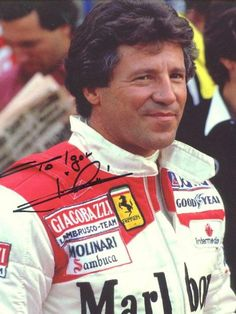During his career, Andretti - my favorite driver- meet him several times! The best and soo handsome too! Go Kart Racing, Indy Car Racing, Ferrari Racing, Indy Cars, Formula 1 Car, Series Formula, Le Mans, Mario Andretti, Old Race Cars