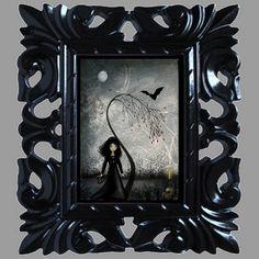 Dark Goth Girl Art Print   Hallows Eve  8x10 by RusticGoth on Etsy, $18.00