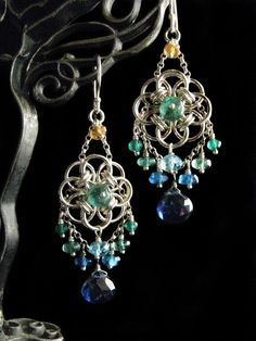 Peacock Helm Circle chain mail earrings.  Absolutely stunning!