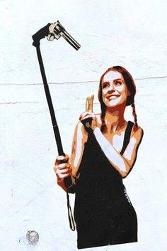 The ultimate selfie by Marshal Arts - found in Hamburg Stencil Street Art, Marshal Arts, Amazing Street Art, Street Art Graffiti, Wonder Woman, Image, Selfie, Walls, Fashion