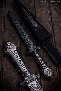 Handmade dagger by Swedish custom knifemaker André Andersson. Fully hand engraved steel and handforged damascus steel. Avalible at http://www.NorthlandKnives.se
