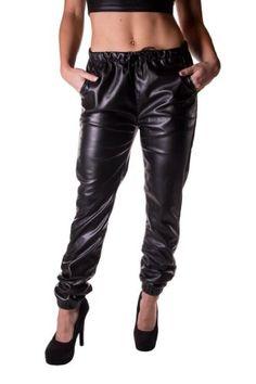 Unleaded Women's Faux Leather Elastic Waist Jogger Pant