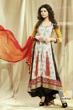Pavitraa Pavitraa Lush Offwhite,yellow and Black Color Salwar Kameez