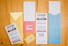 Colourful type wedding invitations.  www.comobranco.com @marryinportugal #comobranco