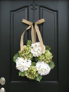 Wreaths - Hydrangea Wreath -  Wreaths for All Seasons. $65.00, via Etsy.