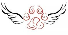 Use real pawprint w/wings...incorporate Ella's name in one wing X 2...one for Roman, as well