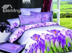 High Quality Elegant Purple Lily Style 4 Pieces Bedding Sets