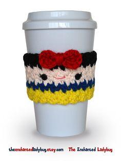 Crochet Snow White Coffee Cup Cozy by TheEnchantedLadybug on Etsy