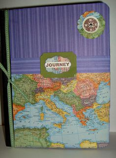 Use an old Map book and composition book.  What a great idea for journal.