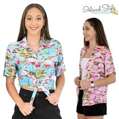 d1569683fc97 Single and Ready to Flamingle in this party print. Ladies Cut Hawaiian  shirts in turquoise