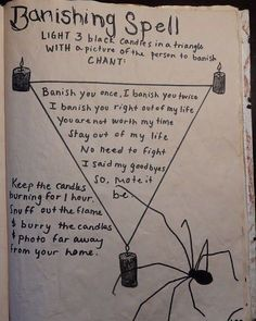Kelsey's Craft Corner: Spell book pages from my DIY spell book; Spell to Banish Someone Kelsey's Craft Corner: Spell book pages from my DIY spell book; Spell to Banish Someone Wiccan Spell Book, Wiccan Witch, Spell Books, White Witch Spells, Black Magic Spells, Spells For Beginners, Witchcraft For Beginners, Banishing Spell, Book Of Shadows