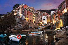 Village of Riomaggiore in the famous Cinque Terre region of Italy, at sunrise. Photo by James Brandon.