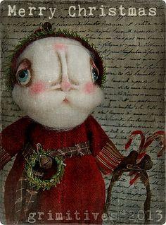 Primitive Christmas Santa Claus Original Art Doll by GRIMITIVES, $150.00