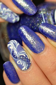 nail art baroque paillette
