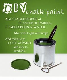 DIY chalk paint-Found the color of your dreams? Now DIY and *TA DA* the perfect chalk paint! Homemade Chalk Paint, Paint Furniture, Furniture Design, Furniture Ideas, Refurbished Furniture, Furniture Makeover, Furniture Refinishing, Funky Furniture, Repurposed Furniture