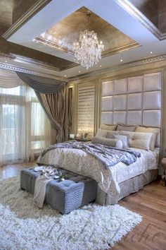 opulent classical/ modern bedroom. Chandelier. Interior design, interiors, decor. Custom bedding available Design Nashville