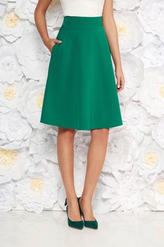 StarShinerS green elegant cloche skirt high waisted slightly elastic fabric office, with pockets, flaring cut, without clothing, back zipper fastening, high waisted