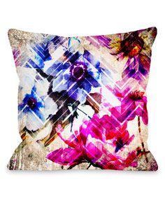 Loving this Tan & Pink Wallflower Chevron Pillow on #zulily! #zulilyfinds
