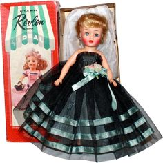 Ideal Little Miss Revlon Doll Platinum Blonde w/Original Tagged Gown and Original Box