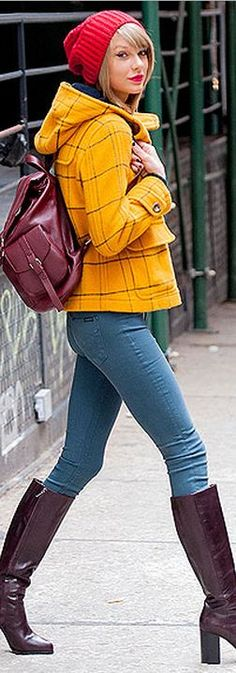 Taylor Swift: Coat – Miss Patina  Jeans – Hudson  Backpack – Topshop  Shoes – & Other Stories