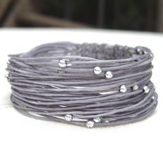 Wikkitz Bracelet in Gray with silver beads by TessaPoppyDesign