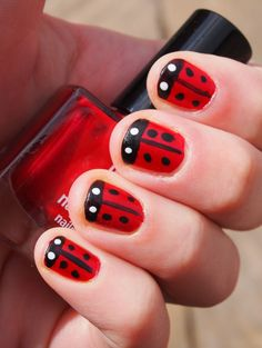 Ladybug Fingernails, came out really cute!  I put another little black dot in the center of my eyes... As soon as Katie can sit still for an hour, we will do hers :)