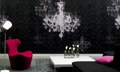"""Elitis Pleats Lux mural panoramic wallpaper depicts a hand drawn chandelier magically floating in space. Add a touch of glamour with this boutique designer wallpaper mural. Free Shipping!  Sold by 3 panels of 39.3"""" width X 118"""" height roll"""
