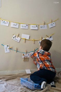 Write words on notecards and then the letters of the words on clothes pins... they have to match em up.
