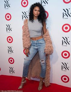 Just in time for fall: Chanel Iman was definitely wild and woolly at this…